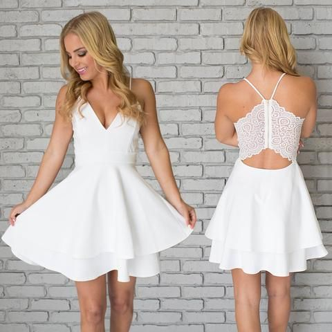 b83dd70f0fd V-Neck Scoop Homecoming Dresses White Graduation Dresses Zipper-Up Cocktail  Dresses