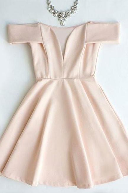 A Line Homecoming Dresses Rose Pink Prom Dresses Goffer Homecoming Dresses