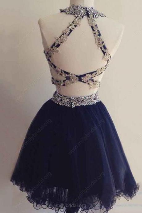 Sleeveless Prom Dresses Hollow Prom Dresses Navy Prom Dresses Crystal Beads Ruffle Prom Dresses