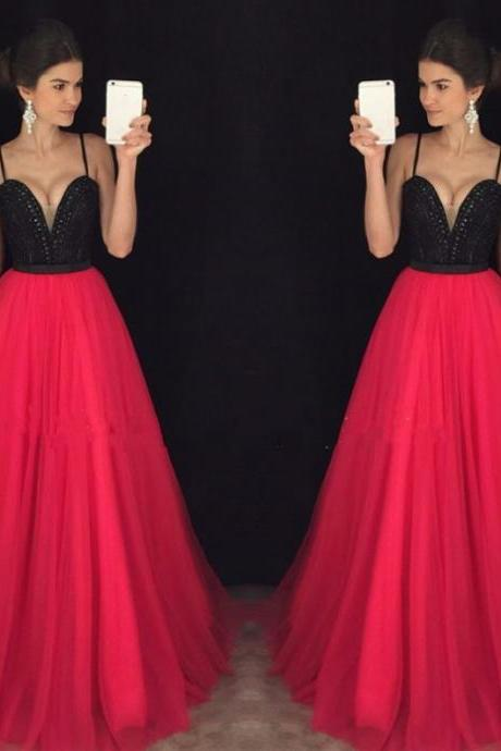 Custom made black and red beaded long prom dress,grad dresses